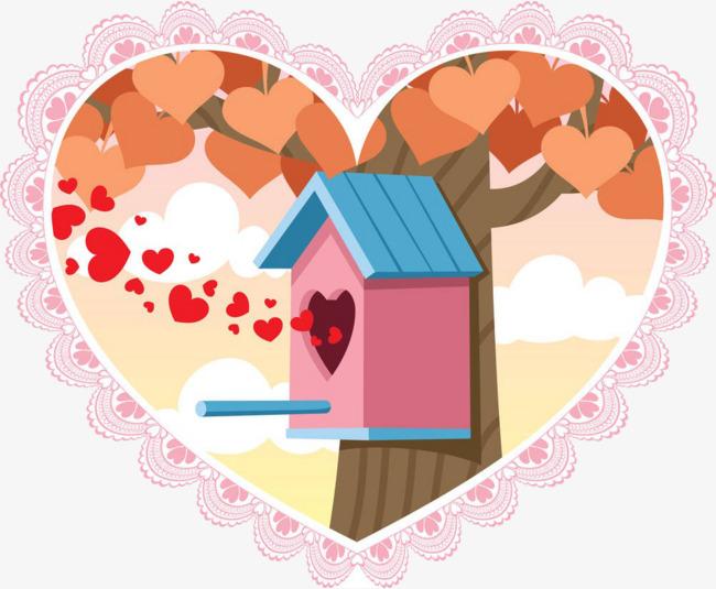 卡通爱心房子图片