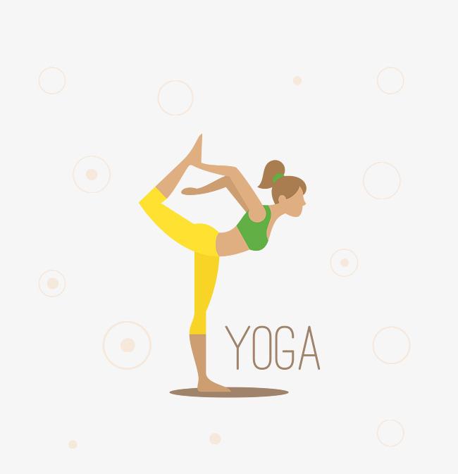 卡通现代女士瑜伽矢量图