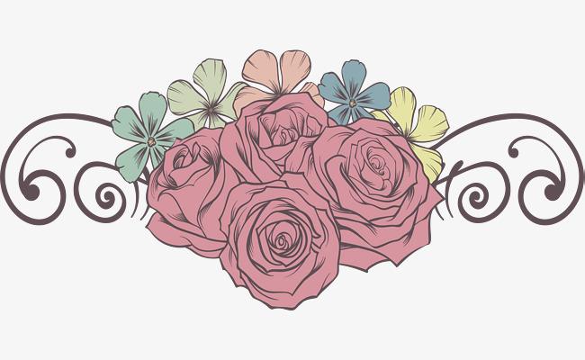 手绘浪漫玫瑰花