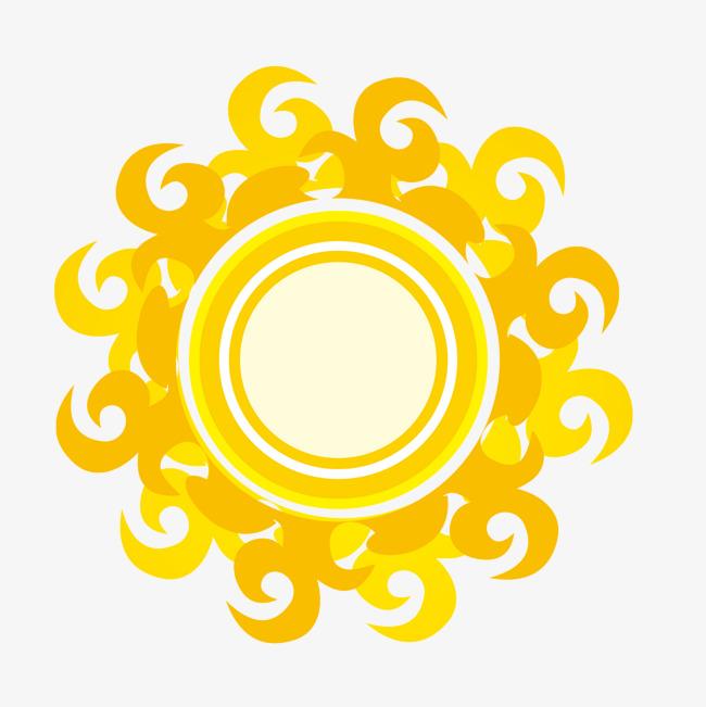 矢量卡通火边太阳光