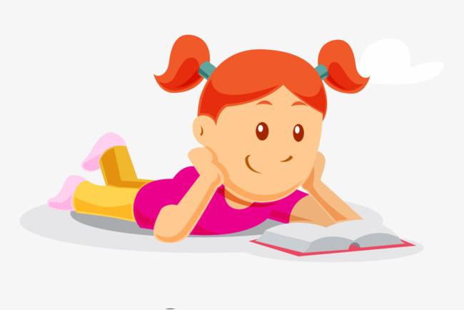 卡通读书小女孩
