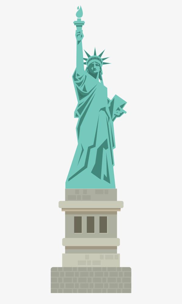 卡通手绘自由女神雕像
