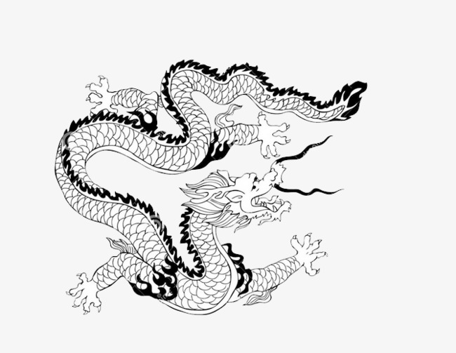 线条飞翔的中国龙