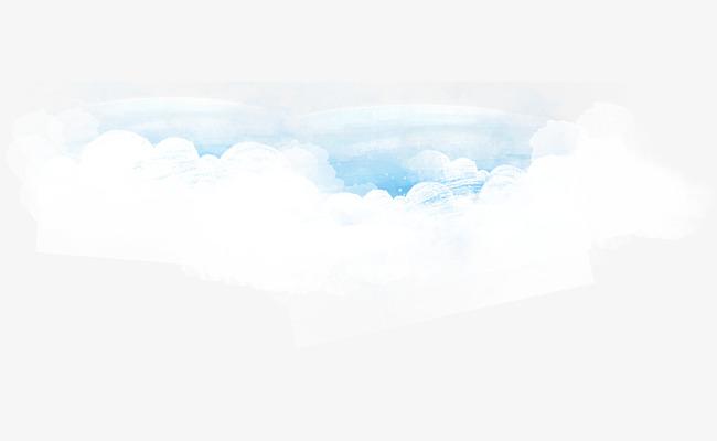 手绘水彩蓝天白云背景