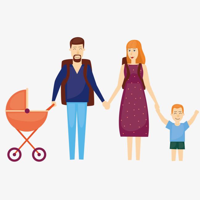 拿着婴儿车的家人