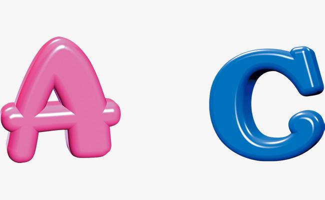 彩色立体可爱字母AC