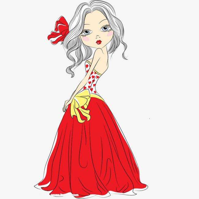 卡通手绘红色礼服美女