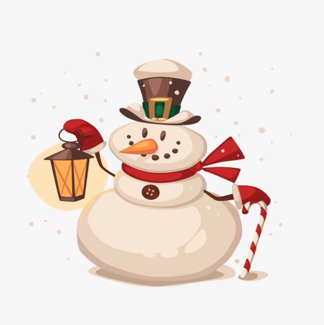 卡通手绘圣诞雪人