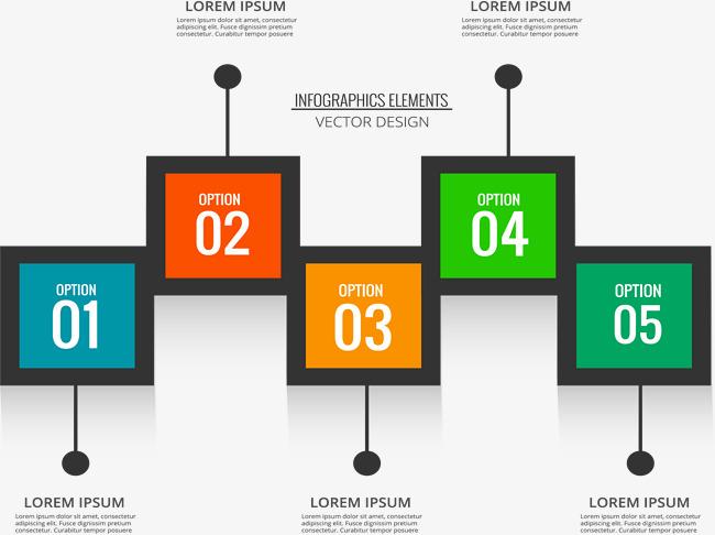 方块彩色信息图表