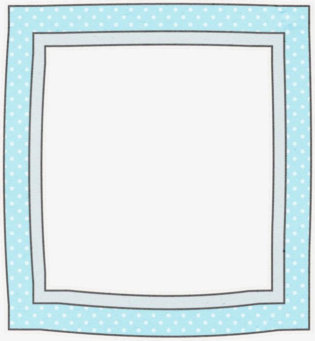 浅蓝色波点卡通手绘正方形相框