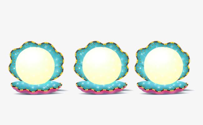 卡通手绘水彩珍珠蚌边框