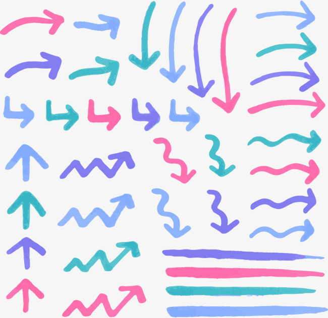手绘彩色箭头
