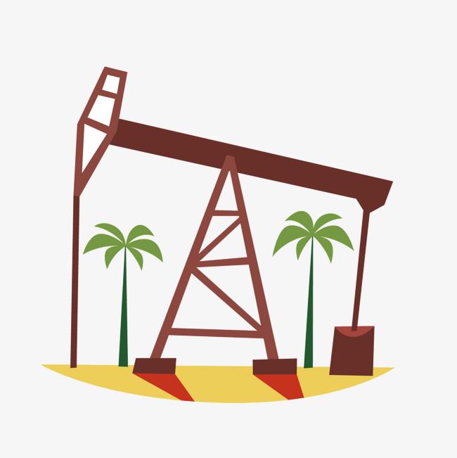 矢量卡通手绘钻井油井图片