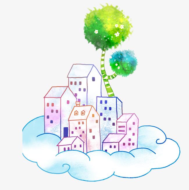 卡通手绘唯美云朵上的房子