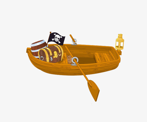 卡通手绘海盗船