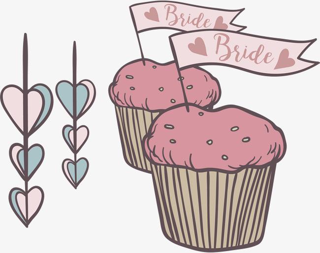 新婚粉色杯子蛋糕