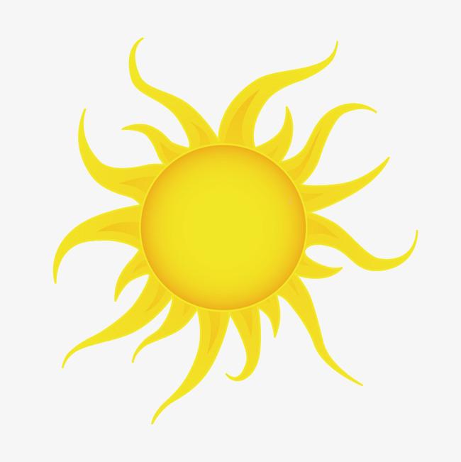 矢量卡通黄色火焰太阳