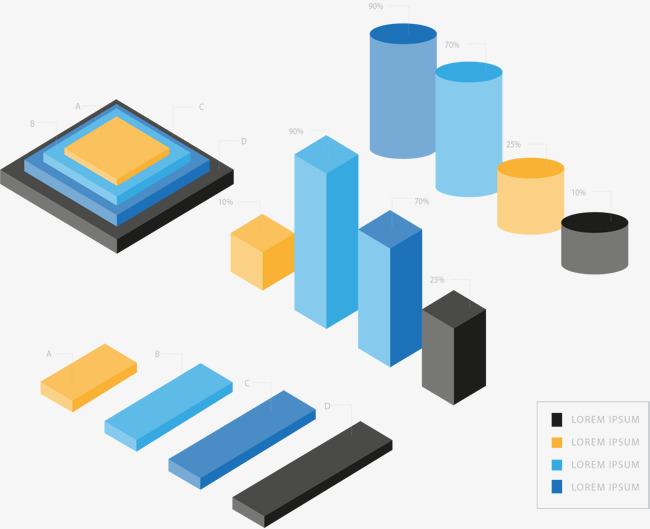 蓝色商务信息图表