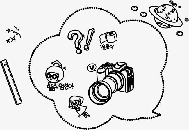 手绘线条相机学习元素图案