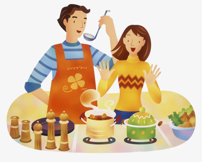夫妻做饭图片