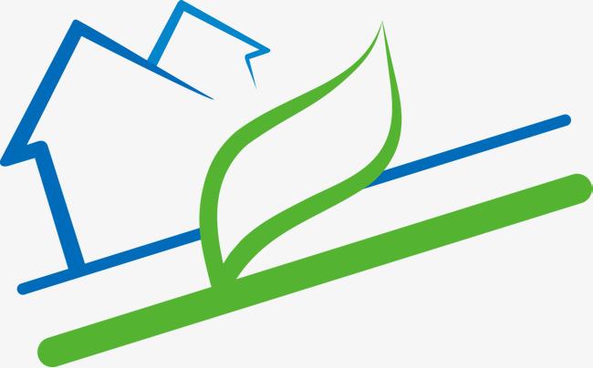 手绘房屋绿色叶子元素