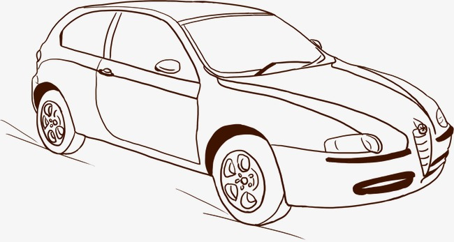 手绘素描汽车png素材-90设计