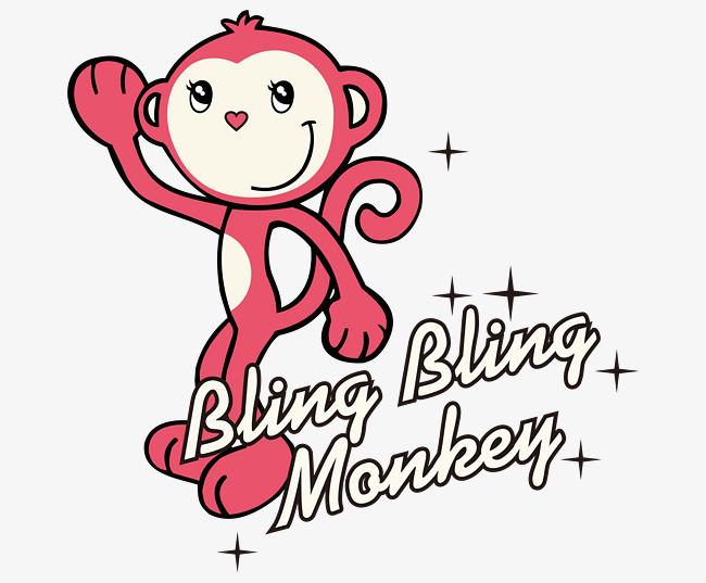 卡通手绘矢量红色可爱猴子