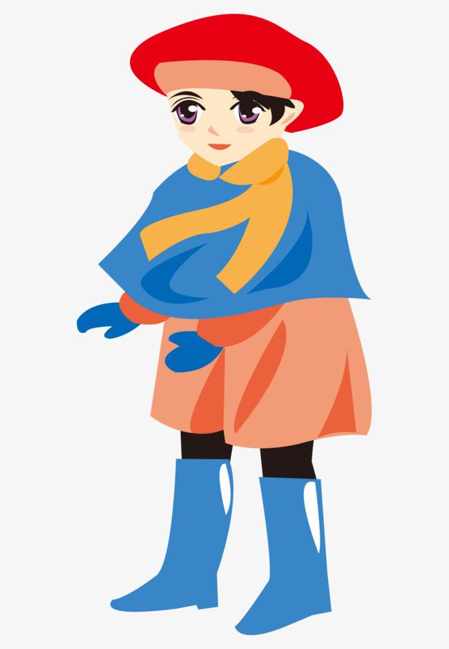 矢量卡通手绘戴帽子冬天服装女孩