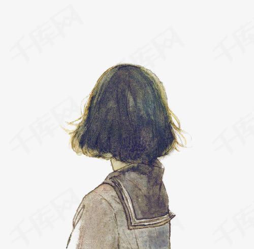 手绘女生背景女生背影茶壶女学生校服短发女生女生插画英伦式校服