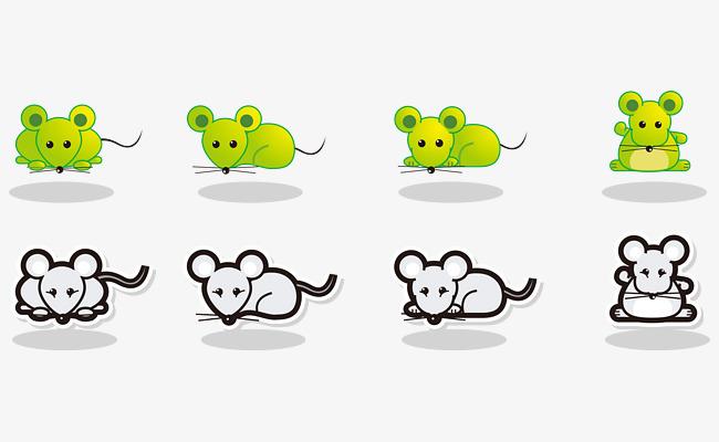 矢量卡通手绘绿色可爱小老鼠