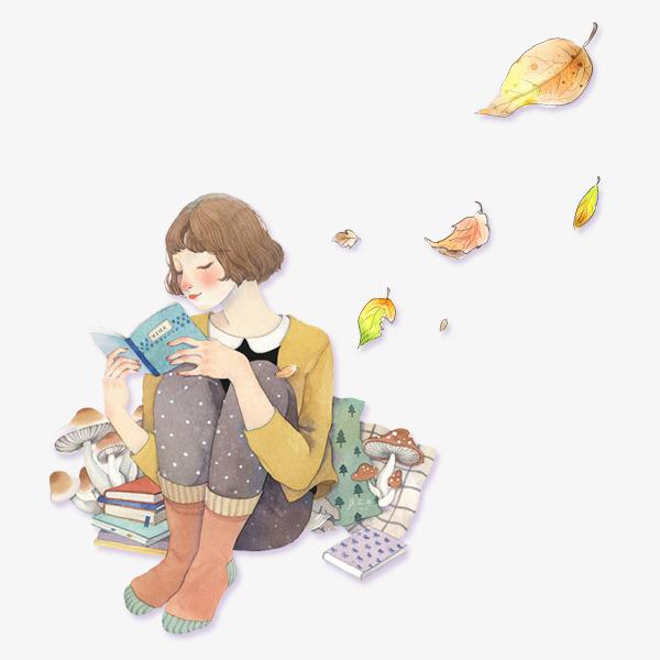 手绘看书小女孩素材