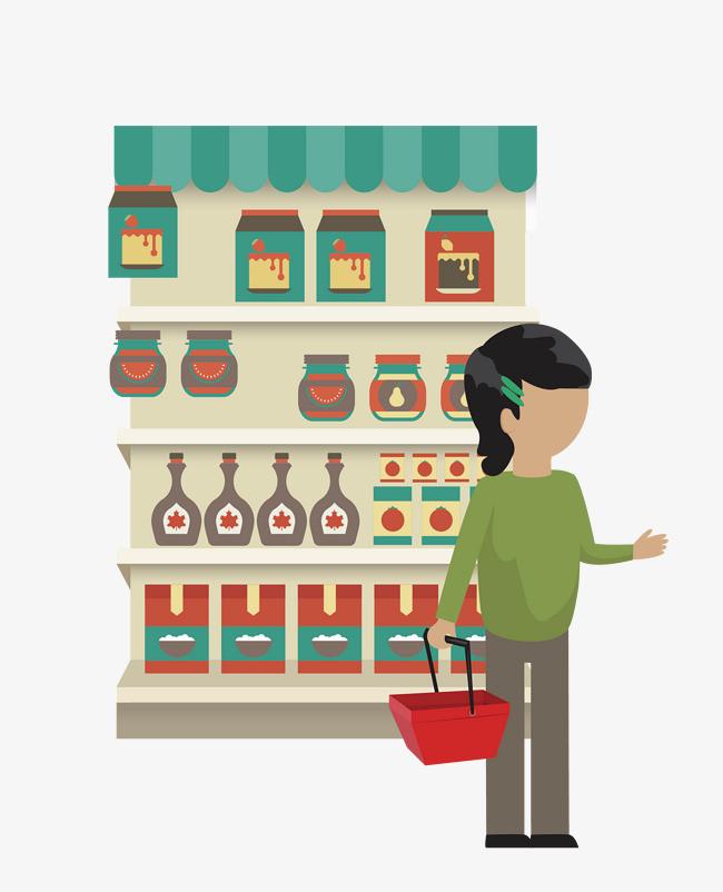 矢量卡通手绘超市购物图案