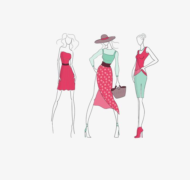 矢量彩色时尚模特手绘