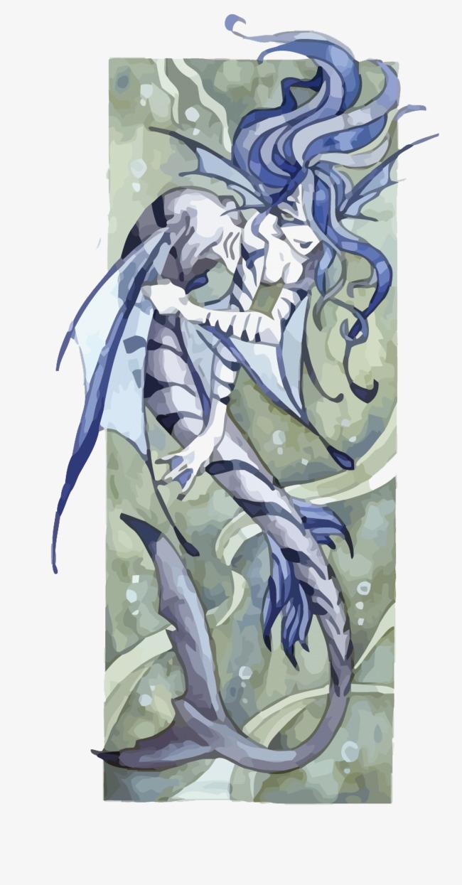 矢量水彩手绘海妖