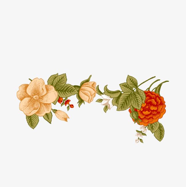 手绘树叶花朵装饰图案