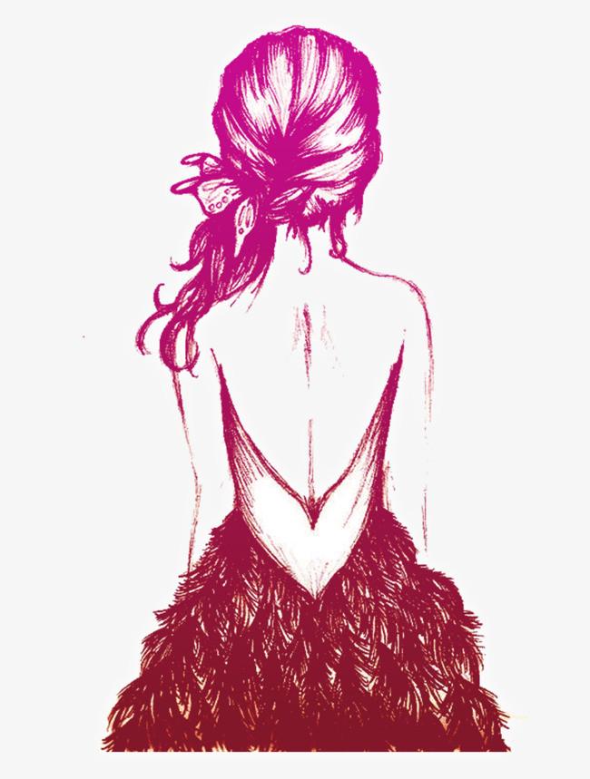 紫色手绘女孩背影装饰图案