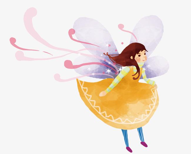 黄色手绘女孩翅膀装饰图案