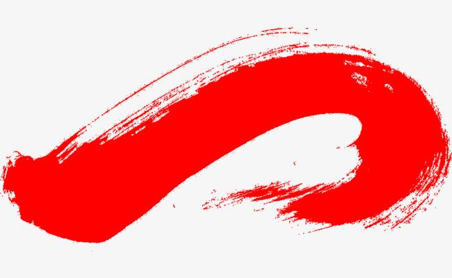 红色手绘水墨