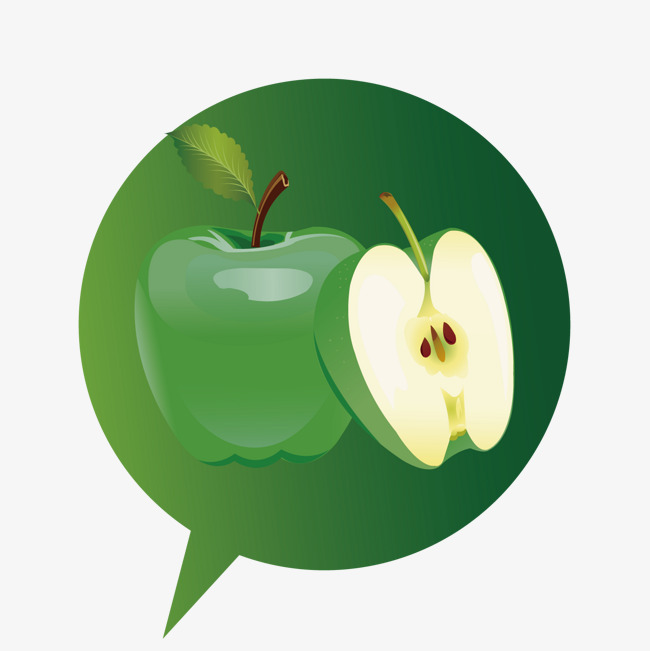 苹果绿色对话框【高清装饰元素png素材】-90设计