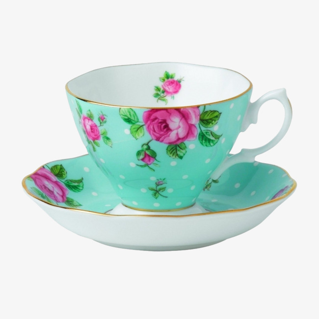 蓝色的欧式茶杯