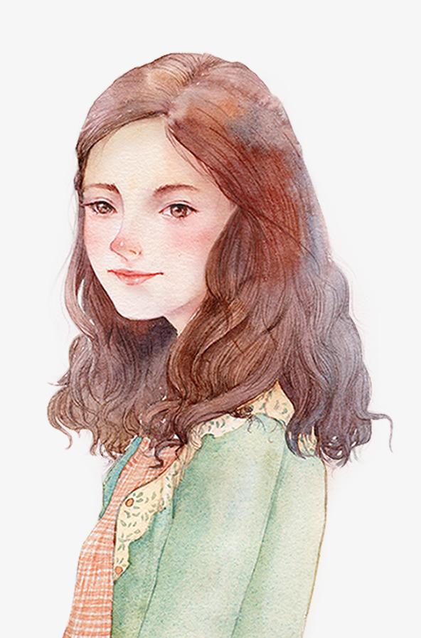 卡通手绘卷发女孩png素材-90设计图片