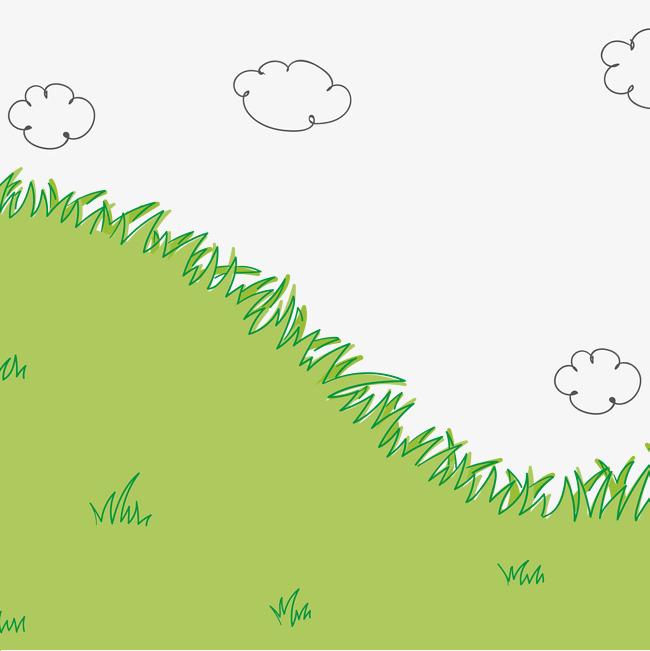 矢量自然场景手绘草和云