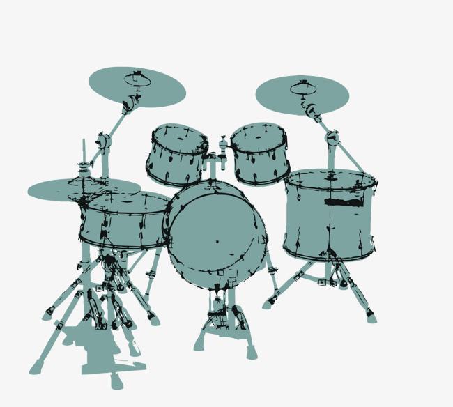 绿色手绘架子鼓