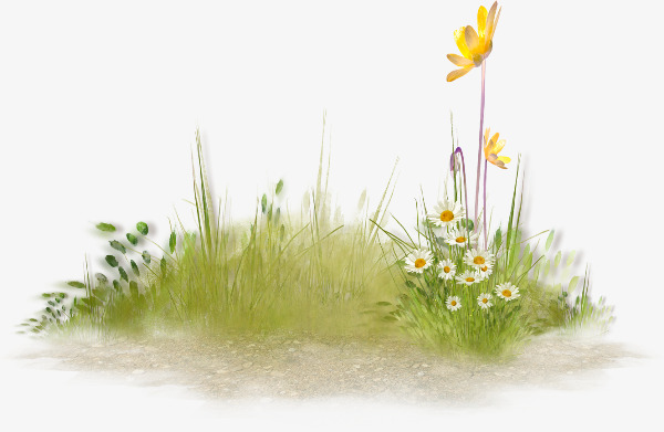 手绘春季花丛