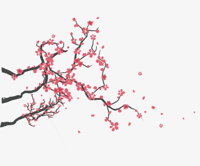 手绘樱花树枝装饰图案素材图片免费下载 高清装饰图案png 千库网 图