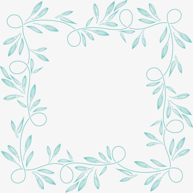 手绘线条形花叶元素