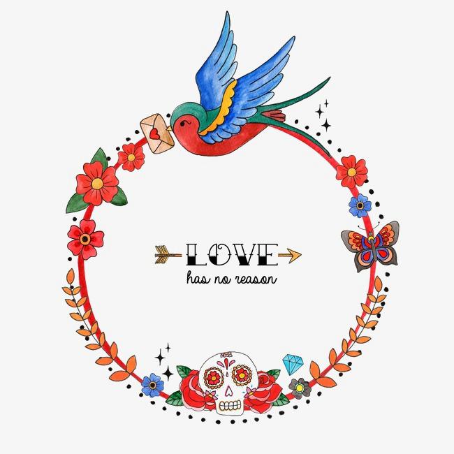 手绘圆形边框花卉