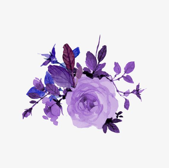 紫色手绘花朵装饰图案