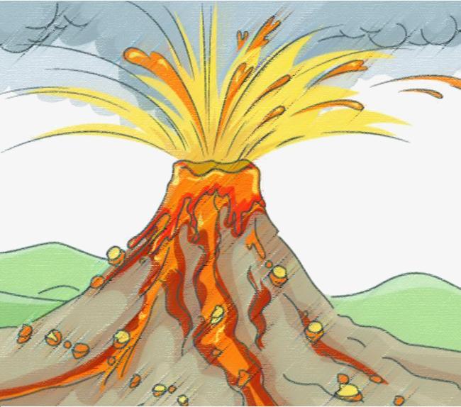 蜡笔画风格火山爆发