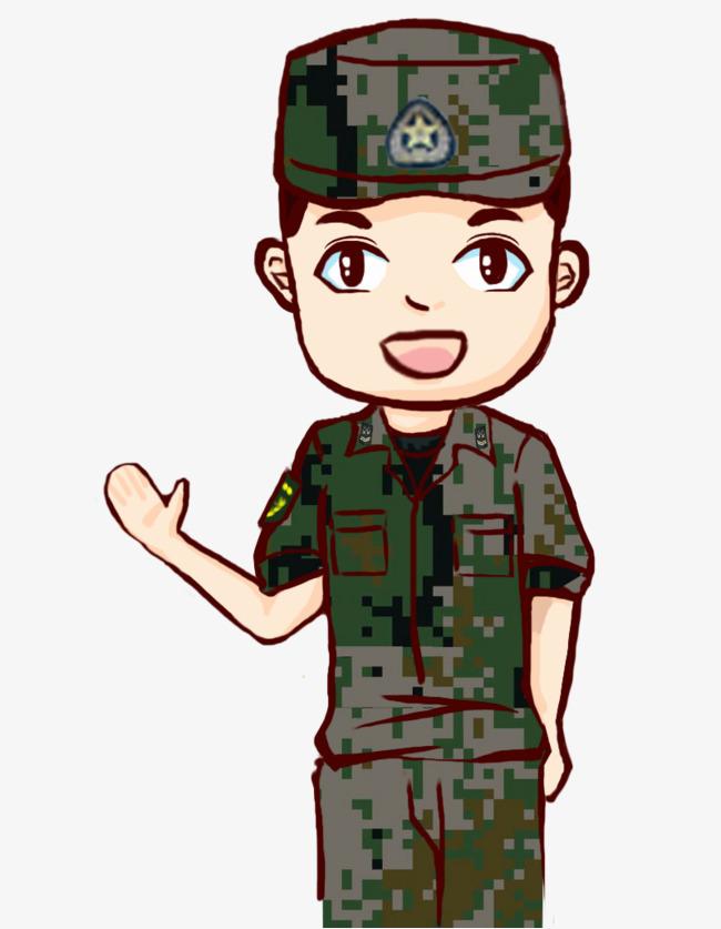卡通帅气军人图片